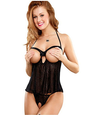 Women's Sexy Mesh Babydoll Set Cupless Lingerie with G-String Nightwear