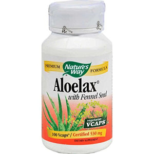 SHIP BY USPS: Nature's Way Aloelax® With Fennel Seed 340 Mg, 100 Vcaps for Occasional Constipation, 100 Count