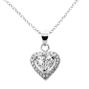 Cate & Chloe Amora Love 18k White Gold Plated Pendant Necklace - Silver Halo Heart Necklace w/Beautiful Solitaire Round Cut Cubic Zirconia Diamond Cluster - Wedding Anniversary Jewelry - MSRP $150