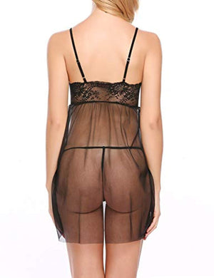 Women Lace Babydoll Lingerie Deep V Neck Strap Chemise Bow Sheer Nightwear