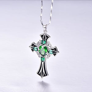 SHIP BY USPS: Merthus 925 Sterling Silver Vintage Created Emerald Celtic Cross Necklace for Women