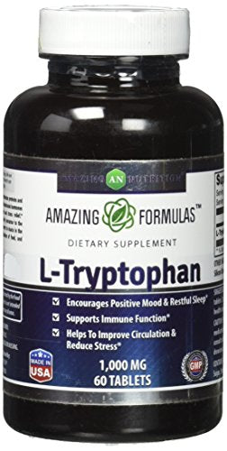 SHIP BY USPS: Amazing Formulas L-Tryptophan Dietary Supplement - Natural Sleep Aid Supplements with 1000 mg of Free...