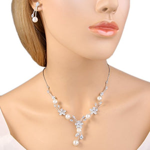 SHIP BY USPS:  Women's Cubic Zirconia Simulated Pearl Flower Bridal Necklace Earrings Jewelry Set Ivory Color