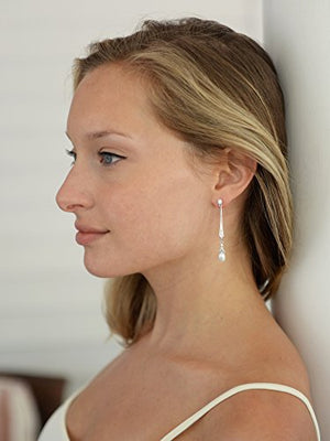 SHIP BY USPS: Mariell Slender Cubic Zirconia Vintage Dangle Earrings with Freshwater Pearl Drops for Brides or Weddings