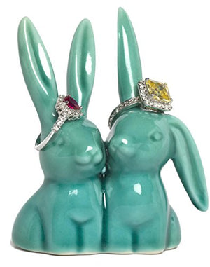 Beth Marie Luxury Boutique Bunny Rabbit Ring Holder, Beautiful Teal Ceramic Engagement & Wedding Ring Holder