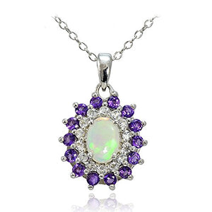 SHIP BY USPS: Sterling Silver Ethiopian Opal, African Amethyst & White Topaz Oval Flower Necklace