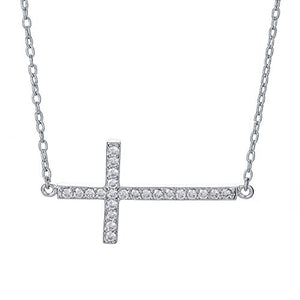 "SHIP BY USPS: Sterling Silver Pendant Necklace with Cross Charm, 925 Silver, Adjustable Chain Length 16"" - 18"", Varius Styles, with Jewelry Box"