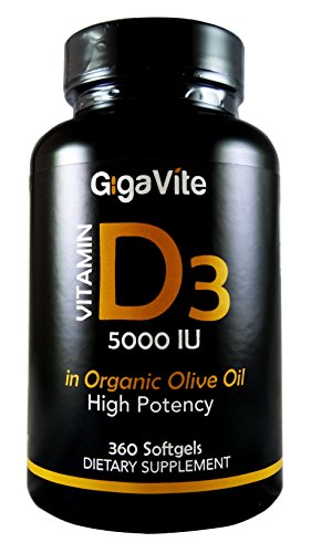 SHIP BY USPS - #1 Best Seller - 360 SoftGels GigaVite Vitamin D3 5,000 IU for Healthy Muscle Function, Bone Health, Immune Support, Gluten Free, Non-GMO in...