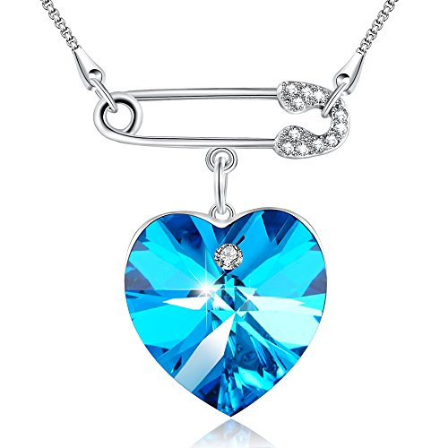 """Blue Caprice""Love Heart Pendant Angelady Necklace for Women Girl,Crystal from Swarovski"