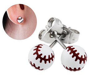 "Best Wing Jewelry ""Tiny Baseball"" Stud Stainless Steel Post Earrings"