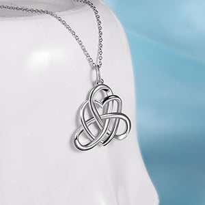 SHIP BY USPS: 925 Sterling Silver Good Luck Irish Triangle Celtic Knot Heart Vintage Pendant Necklace, Box Chain 18""