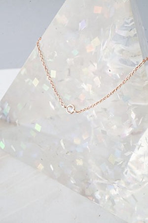 HONEYCAT Solo Tiny Crystal Bezel Necklace | Minimalist, Delicate Jewelry