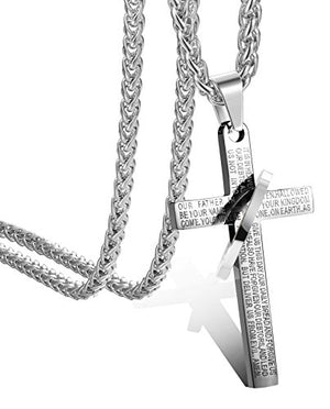 SHIP BY USPS:  STEEL Stainless Steel Mens Womens Cross Necklace Lord's Prayer Pendant 24 inches, 3 Colors Available
