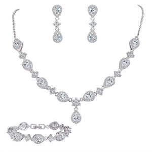SHIP BY USPS: EleQueen Women's Silver-tone Cubic Zirconia Teardrop Flower Bridal V-Necklace Set Tennis Bracelet Dangle Earrings