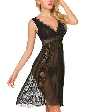 Women's Sexy Long Lace Lingerie Nightdress Sheer Gown Chemise G-string
