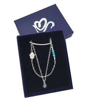 SHIP BY USPS: Women's Layered Necklaces Long Chain Hamsa Hand of Fatima Evil Eye Simple Necklaces Pendant