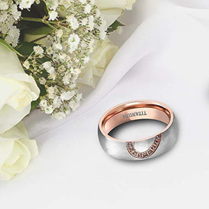 TIGRADE Real Love Heart Titanium Wedding Bands Couple Engagement Rings CZ Inlaid