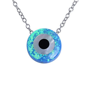"SHIP BY USPS: Round Evil Eye Necklace Sterling Silver 925 Blue Synthetic Opal Pendant Adjustable Chain 16""+2"" Extender"