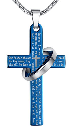 "SHIP BY USPS: Men's Stainless Steel Lord's Prayer Cross Halo Pendant Necklace, Blue Color, 23"" Chain, ddp010la"