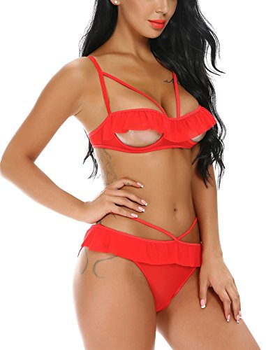 f2bb4addaa ... Women s Valentine Lingerie Open Cup Babydoll Ruffle 2 Piece Cupless Bra  and Panty ...