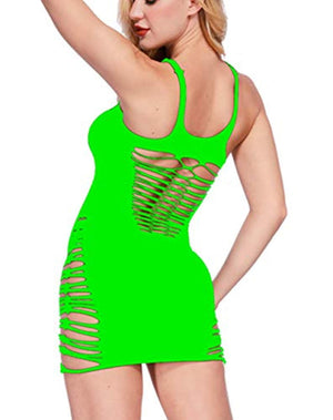 Womens Babydoll Hollow Fishnet Lingerie Hot Mini Dress Tube Chemise Bodysuit