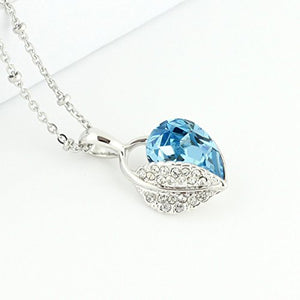 SHIP BY USPS: Jewelry Set Leaf Pendant Necklace+Stud Earrings Water Drop shaped Swarovski Aquamarine Crystals -Type B