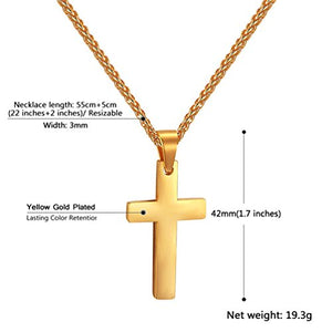 SHIP BY USPS: Cross Necklace 18K Gold Plated Stainless Steel Pendant & Chain Christian Jewelry For Men,22 Inches,PSP2525J