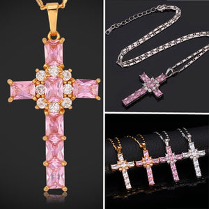 Christian Cross Pendant 18K Real Gold Plated Pink Clear Cubic Zirconia Girly Necklace for Women MGC