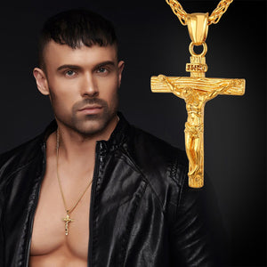 Men Christian Jewelry 18K Gold Plated/Stainless Steel Black Vintage Jesus Christ Crucifix Pendant Necklace