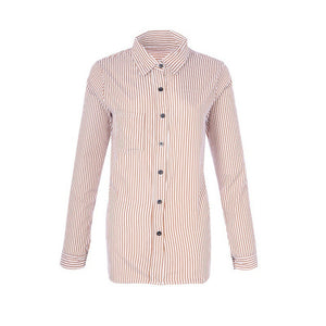 Fashion 2015 New Arrival Shirts Women Tops and Blouses Long Sleeve Casual Loose Striped Autumn cardigan
