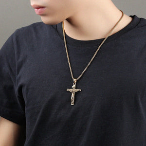 Men's Jewelry Stainless Steel Jesus Christ Crucifixion Cross Pendant Necklace