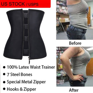 USPS Latex Waist Cincher Waist Trainer Trimmer Long Torso with 3 Hook Rows Zip Up