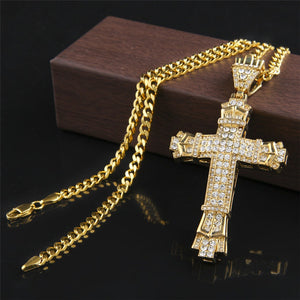 2018 Fashion Mens Stainless Steel Cross Pendant Necklace Flat Byzantine Chain 925 Silver / 18K Gold Cross Pendant Necklace