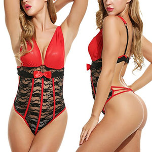Sexy Teddy Lingerie Bodysuit Deep-V Halter One Piece Lace Babydoll For Women