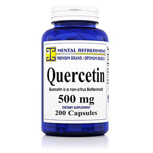 SHIP BY USPS Mental Refreshment: Quercetin 500mg 200 Capsules (1 Bottle)