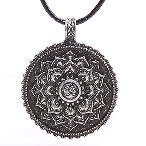 SHIP BY USPS: Yoga Inspired Lotus Flower Necklace Pendant OM Retro Mandala Spiritual Religious Tibetan Amulet 4029