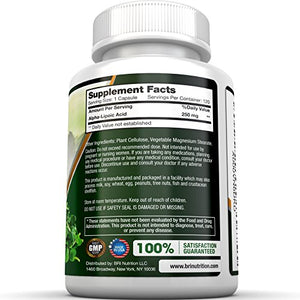SHIP BY USPS BRI Nutrition Alpha Lipoic Acid 250mg 120 Count Veggie Capsules - Universal Antioxidant High Potency - 120 Servings
