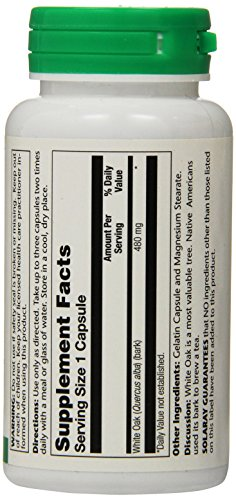 SHIP BY USPS: Solaray White Oak Bark Capsules, 480 mg, 100 Count