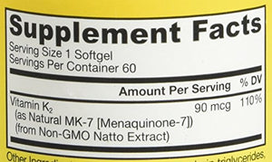 SHIP BY USPS: Jarrow Formulas MK-7 90 mcg, 60 Count