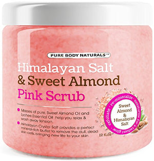 [Pack of 2] Pure Body Naturals Himalayan Pink Salt Exfoliating Scrub, 12 Fl. Ounce Each