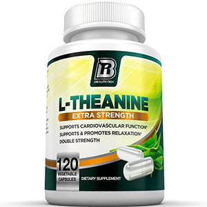 SHIP BY USPS BRI Nutrition 200mg L-Theanine Enhanced with 100 mg of Inositol - 120 Count 200mg L Theanine Veggie Capsules