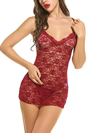 Sexy Lingerie For Women Babydoll Sleepwear Lace Chemises Set