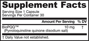 SHIP BY USPS: Jarrow Formulas Pyrroloquinoline Quinone,  Supports Heart and Cognitive Function, 10 mg, 30 Caps