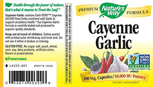 SHIP BY USPS: Nature's Way Cayenne & Garlic, Capsules 100ea