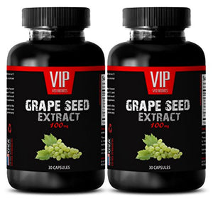 Antioxidant vitamin supplement - GRAPE SEED EXTRACT 100mg - Supplements for brain and memory - 2 Bottles 60...