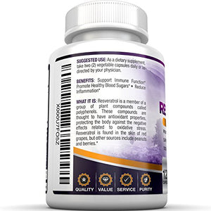 SHIP BY USPS BRI Nutrition Resveratrol - 1200mg Maximum Strength Supplement - 60 Day Supply - 120 Veggie Capsules...