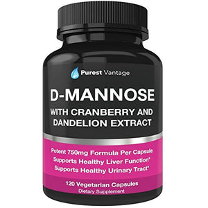 SHIP BY USPS: D Mannose Capsules with 600mg D-Mannose Powder Per Cap - with Added Cranberry and Dandelion Extract to...