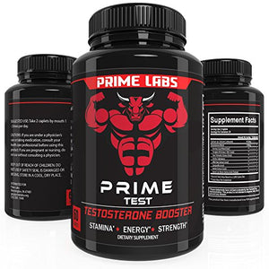Prime Labs Men's Testosterone Supplement - 1 Bottle - (60 Caplets) Natural Stamina, Endurance and Strength Booster –...