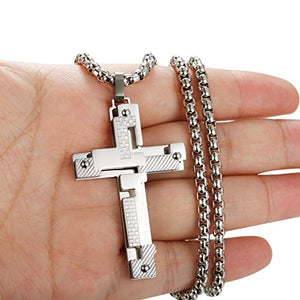 SHIP BY USPS: Jstyle Jewelry Stainless Steel Mens Cross Necklace for Men Pendant for Boys 24 Inch Chain