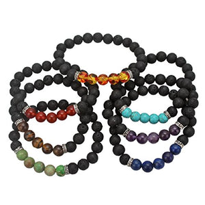 SHIP BY USPS: Best Seller - YISSION 7 Pack Gemstone Bracelet Natural Stones Stretch Bracelets Yoga Reiki Prayer Beads Lucky Bracelet